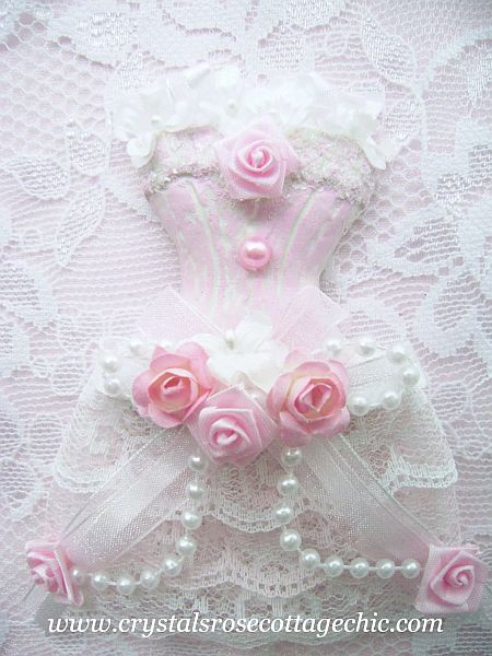 Shabby Pink and White Dress Form Ornament