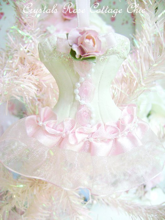 Personalized Shabby Pink Rose Dress Ornament