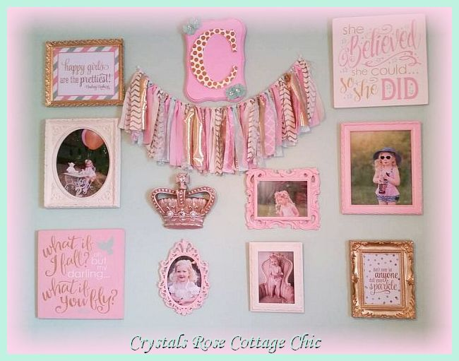 Mint Green Pink Girls Room Crown Decor