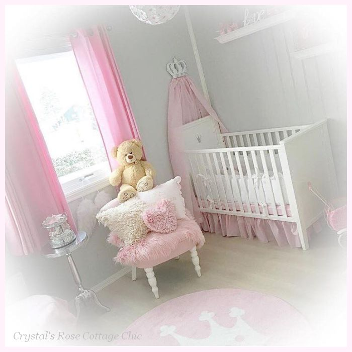 Pink Princess Bed Crown Canopy white crib nursery decor