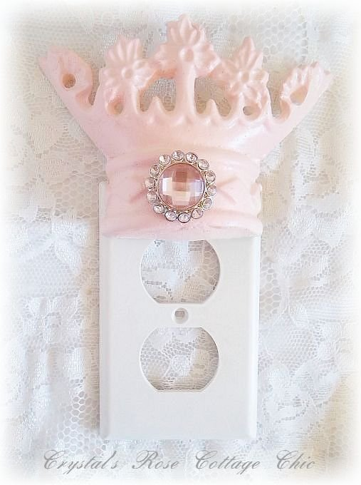 Pink Princess Crown Outlet Cover..Color Choices