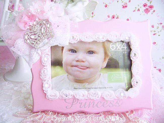 Pink Princess Rhinestone Crown Frame