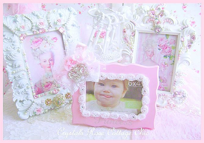 Pink Princess Rhinestone Crown Frame