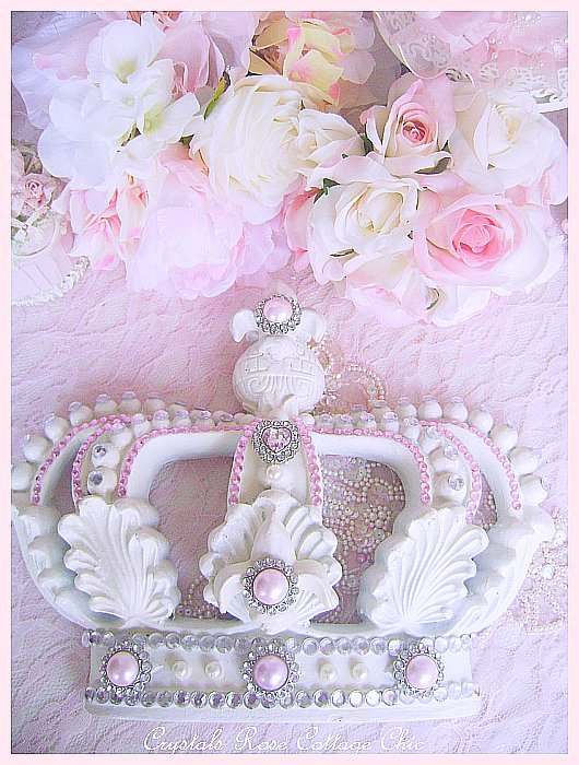 French White Fleur De Lis Bed/Wall Crown Pink Bling
