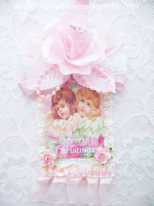 Sweet Pink Cherub Rose Tag