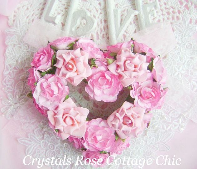 Sweet Pink Rose Heart Wreath