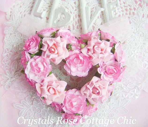 Sweet Pink Rose Heart Wreath