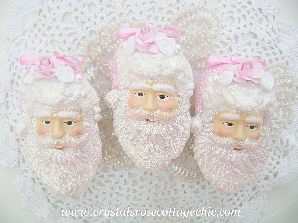 Shabby Sugared Santa Ornament Set