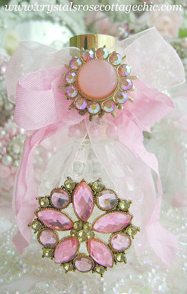 Pink Vintage Bejeweled Perfume Bottle