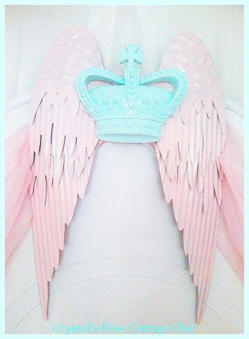 Shabby Wings with Crown...Color Choices