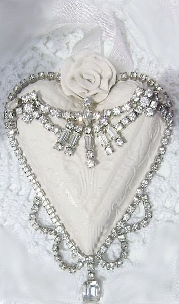 Shabby White Rose Vintage Charm Heart Ornament