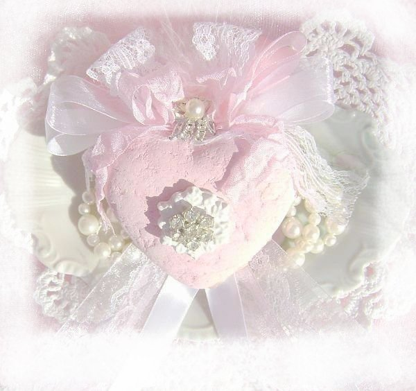 Shabby Pink Bejeweled Snowflake Vintage Charm Heart