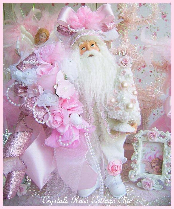 Shabby Chic Pink Rose Santa