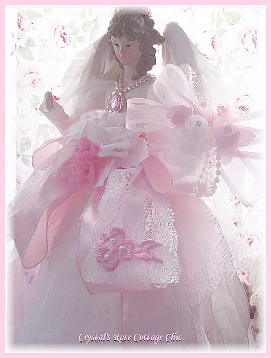 Beautiful Pink Ribbons and Lace Angel Tree Topper