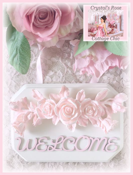 Shabby Pink Rose Welcome Plaque