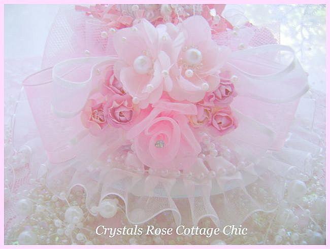 Shabby Lace Rose Teacup Egg Nest