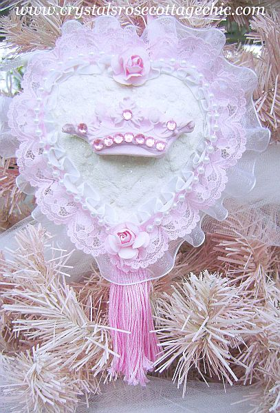 Wings with Shabby Pink Crown Ornament