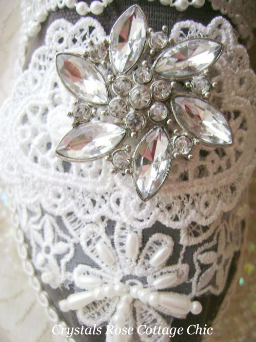 Shabby Chic Two Hearts Rhinestone Flower Bridal Toms