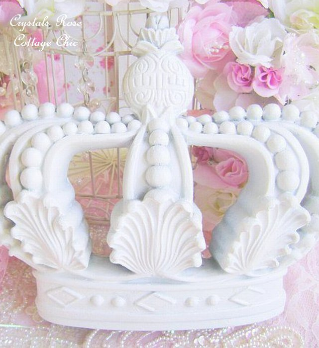 Shabby Cottage Chic White Crown Wall Decor