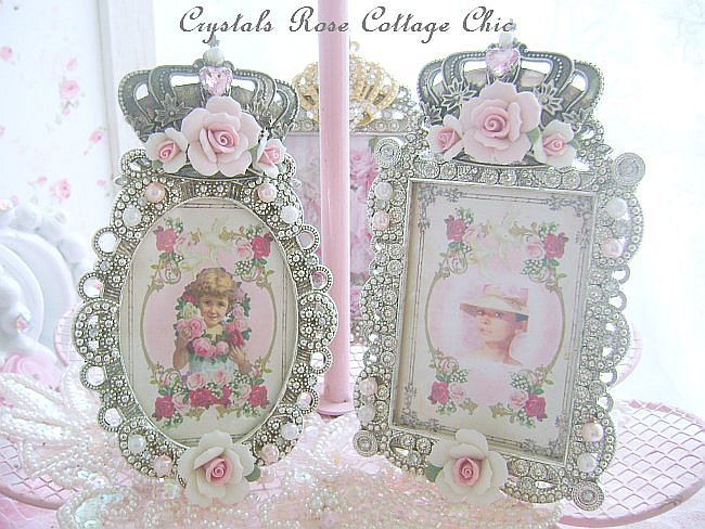 Victorian Porcelain Rose Frame with Vintage Girl Print