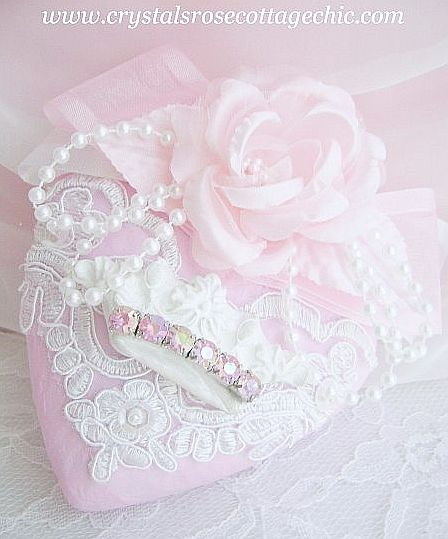Shabby Chic Pink Heart Crown Ornament