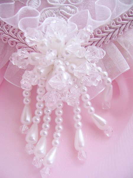 Romantic White Rose Pink Satin Heart