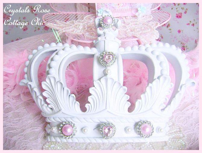 White Fleur de Lis Crown with Pink Bling