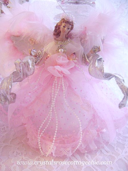 Shabby Pink Angel Ornament/ Mini Tree Topper