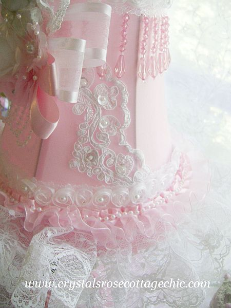 Shabby Pink Vintage Cherub Lamp