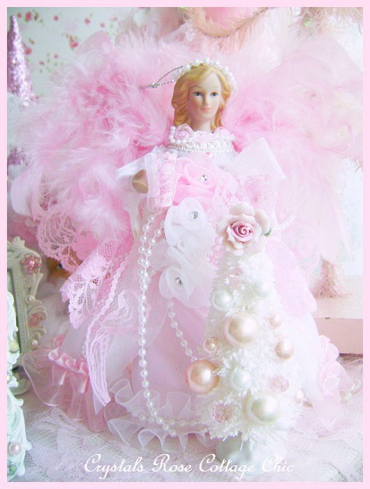 Shabby Pink Angel Mini Tree Topper