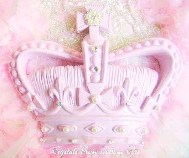 Shabby Pink Crown with Ivory Pearl Bling