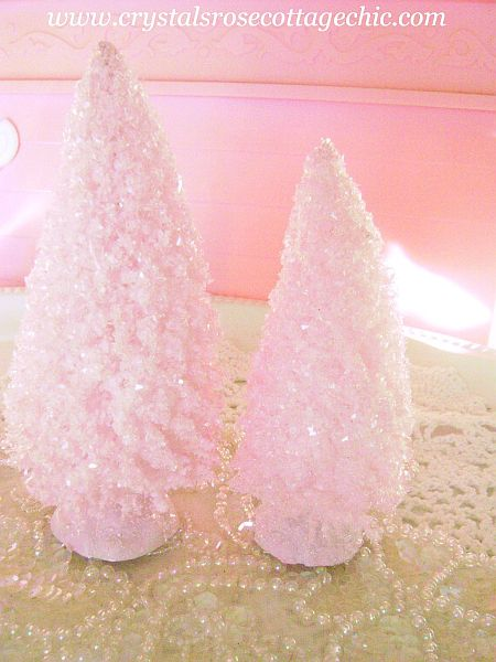 Shabby Pink Chic Bottle Brush Trees