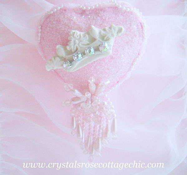 Shabby Pink Chic Crown Ornament