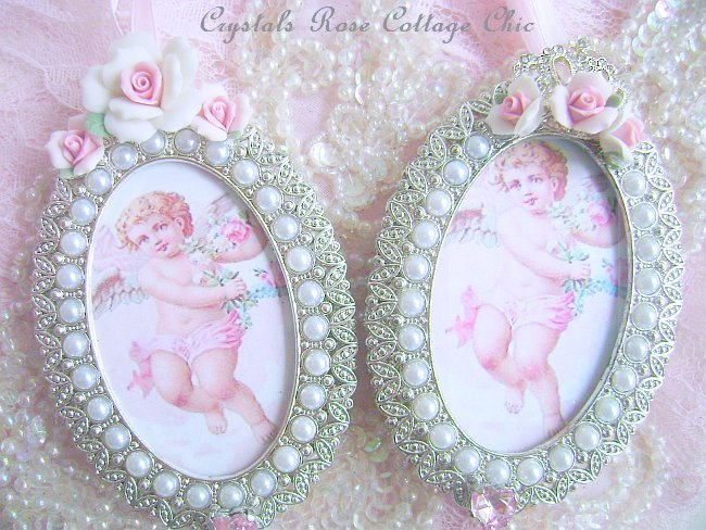 Shabby Pink Rose Frame Ornament