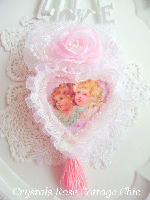 Sweet Pink Vintage Cherubs Heart
