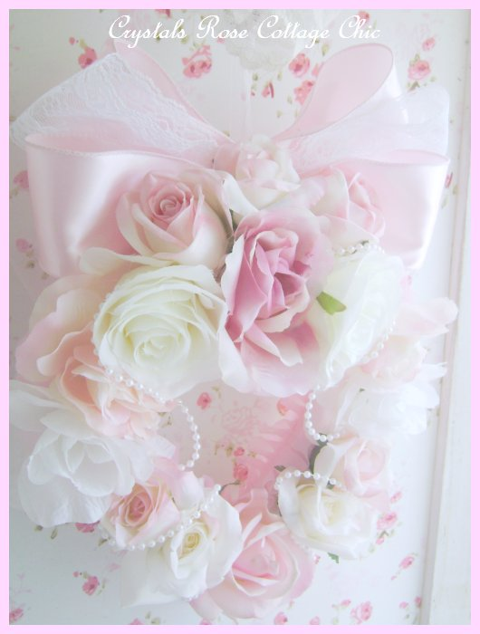 Shabby Chic Pink Heart Wreath