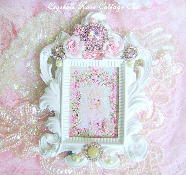 Romantic Pink Bling & Porcelain Rose Frame