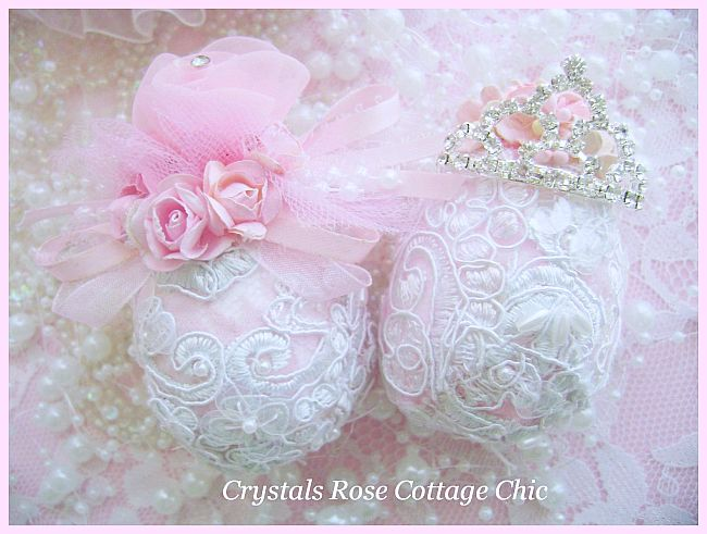 Shabby Lace Pink Rose Egg
