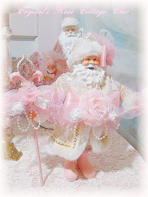 Shabby Pink Rose French Santa