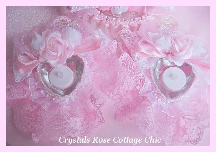 Romantic Pink Heart Tealight Candle Holders
