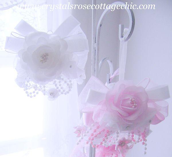 White on White Romantic Rose Bridal/Wedding Ornament