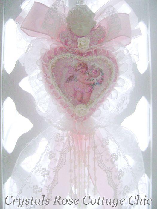Romantic Pink Vintage Cherub Heart