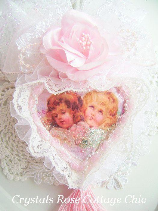 Sweet Pink Vintage Cherub Heart 2