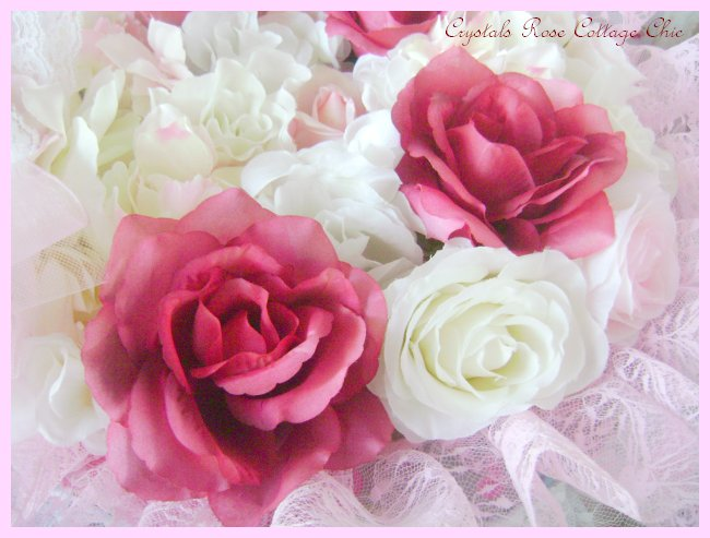 Shabby Pink & Wine Rose Hat Box