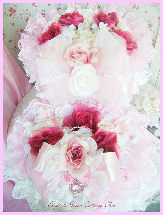 Shabby Pink & Wine Rose Hat Box