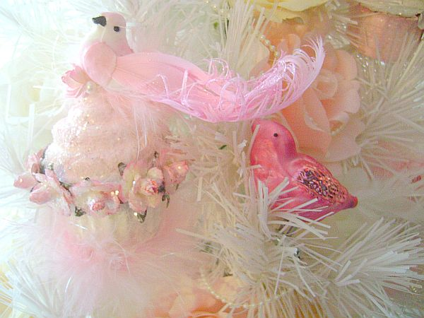Shabby cottage chic pink roses cupcake bird ornament