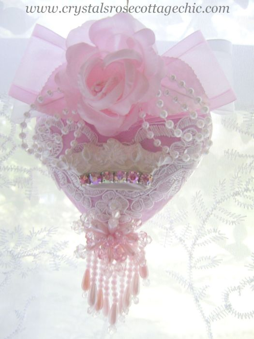 Shabby Pink Chic Crown Heart Ornament
