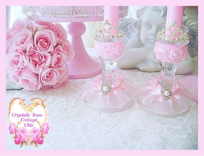 Shabby Pink Princess Crown Candle Holders