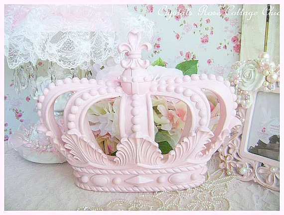 Shabby Pink Fleur de Lis Wall or Bed Crown
