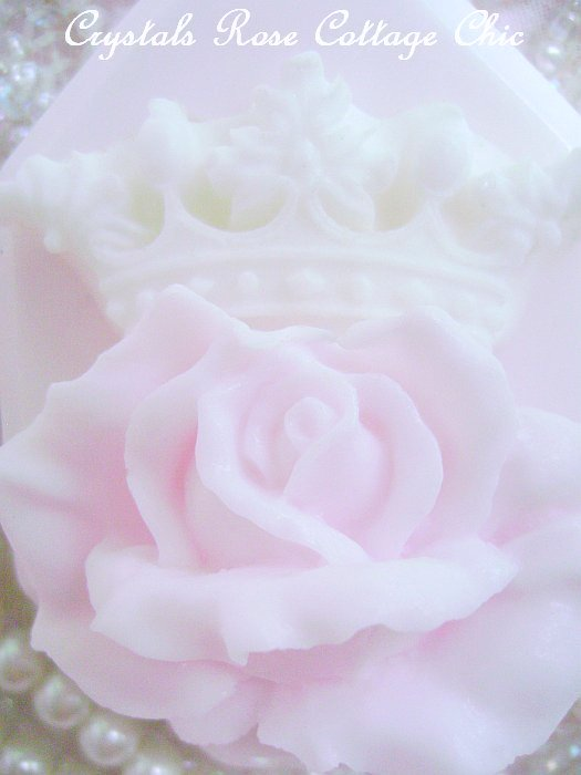 Shabby Pink Rose White Crown Luxury Soap